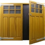 timber side hinged garage doors with timber frame windows