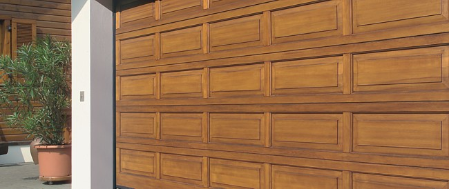 Hemlock timber sectional garage door