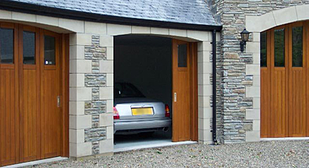 timber side sectional doors with windows